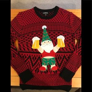 🎅🏻🎄UGLY Gnome Santa Sweater w/ Beer 🍺 Steins